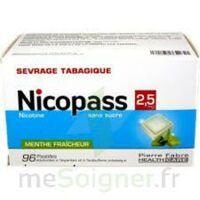 NICOPASS MENTHE FRAICHEUR 2,5 mg SANS SUCRE, pastille édulcorée à l'aspartam et à l'acésulfame potassique à Agen